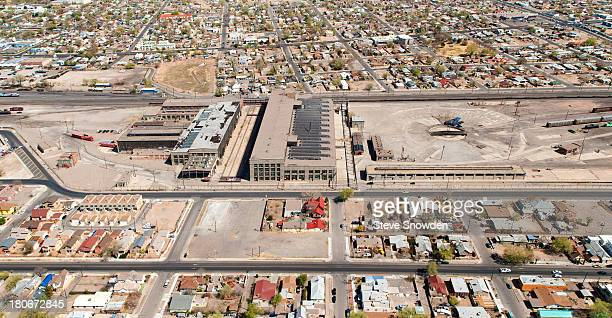 An aerial view of the Santa Fe Railroad Centralized Work Equipment Shop on March 29 2011 in Albuquerque New Mexico This abandoned facility and the...