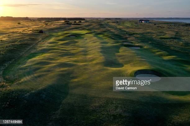 An aerial view of the second shot on the par 4 12th hole at the host venue for the 2021 Open Championship at The Royal St George's Golf Club on July...