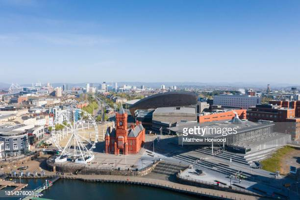 An aerial view of the Senedd at Cardiff Bay on April 25, 2021 in Cardiff, Wales. The 2021 Senedd election will be the sixth held since devolution and...
