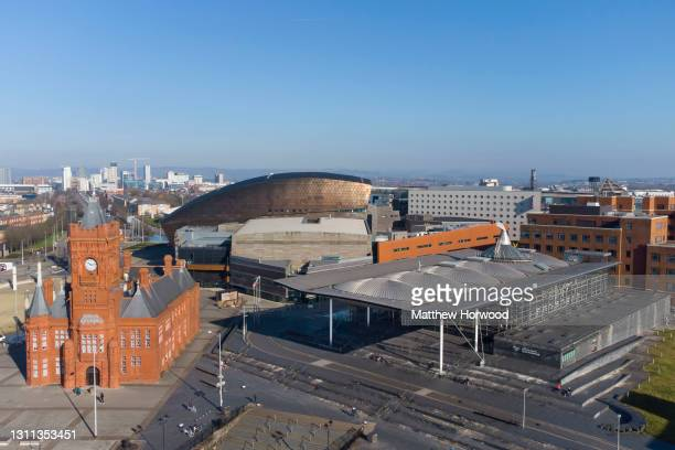 An aerial view of the Senedd at Cardiff Bay on February 28, 2021 in Cardiff, Wales. The 2021 Senedd election will be the sixth held since devolution...