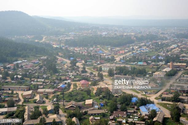 An aerial view of the settlement of Boguchany in Russia's Krasnoyarsk Krai on August 4, 2019.