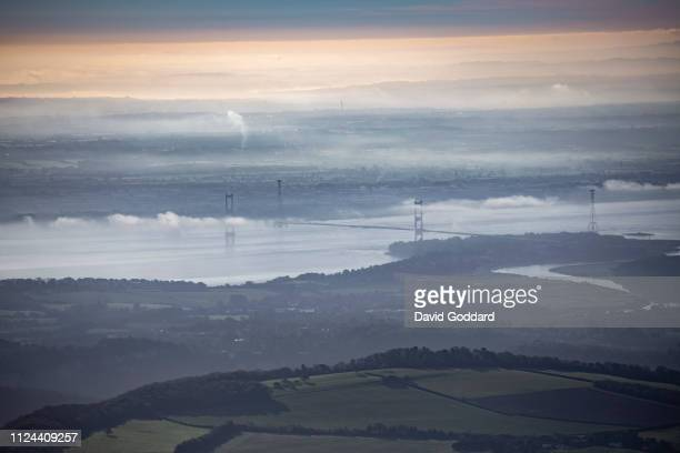 KINGDOM OCTOBER 2018 An Aerial View of the Severn River Severn Bridge and Bristol in the background on this cold frosty morning on the border with...