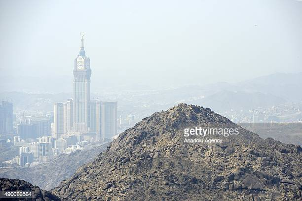 An aerial view of the Sevr Mountain and Clock Tower in Saudi Arabia's holy Muslim city of Mecca on September 25 2015