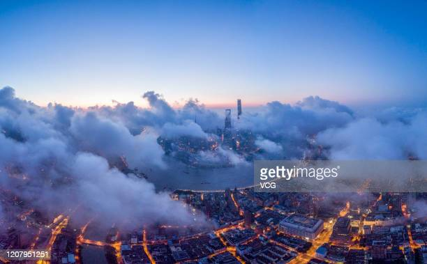 An aerial view of the Shanghai skyline at sunrise on August 6, 2019 in Shanghai, China.