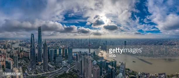 An aerial view of the Shanghai skyline at sunset on June 9, 2020 in Shanghai, China.