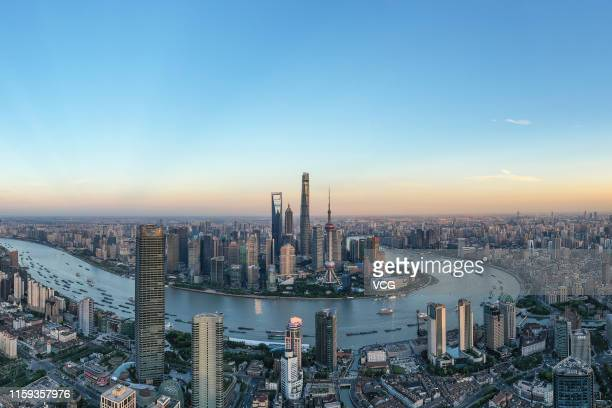 An aerial view of the Shanghai skyline on May 28 2019 in Shanghai China