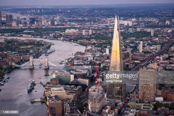 An aerial view of the Shard on June 28 2012 in London England Standing at 3096 metres high the Shard is the tallest buliding in Europe and was...