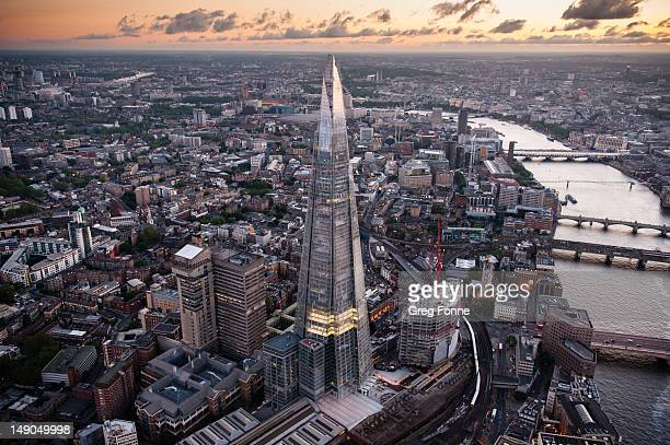 An aerial view of the Shard on June 28, 2012 in London, England. Standing at 309.6 metres high the Shard is the tallest buliding in Europe and was...