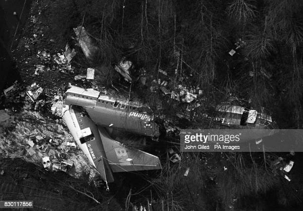 An aerial view of the shattered remains of the British Midlands 737 400 aeroplane Flight BD92 which crashed on the M1 motorway embankment near...