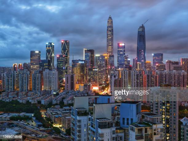An aerial view of the Shenzhen skyline on August 26, 2020 in Shenzhen, Guangdong Province of China.
