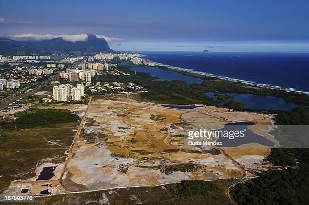 An aerial view of the site of the Olympic golf course in Barra on the 1000th day before the Rio 2016 Olympic Games on November 9 2013 in Rio de...