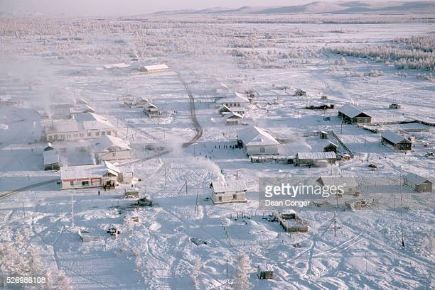 An aerial view of the small town of Oymyakon Frost hangs on the trees and the temperature is about 45 degrees