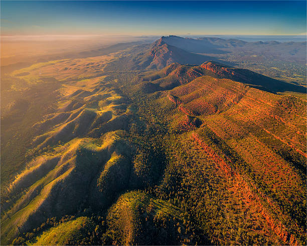 An Aerial View Of The Southern Flinders Ranges Near Wilpena, South Australia. Wall Art