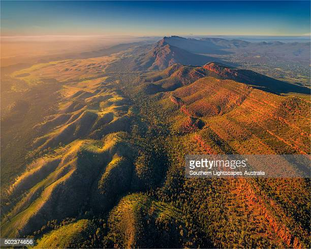 an aerial view of the southern flinders ranges near wilpena, south australia. - outback stock pictures, royalty-free photos & images