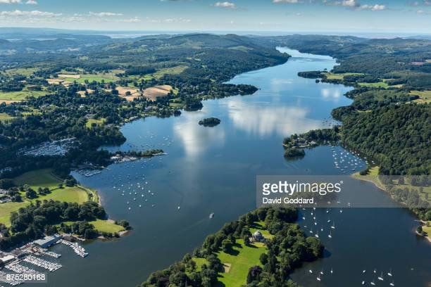 An aerial view of the southern side of Lake Windermere, Belle Island, Ferry Green and the village of Storrs on July 12, 2017 in...