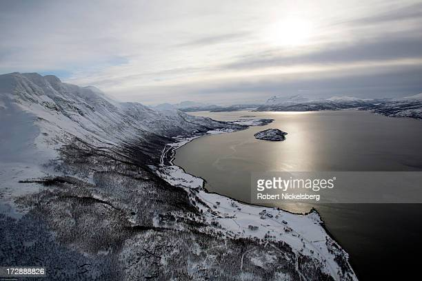 An aerial view of the sparsely populated landscape March 5 2013 along the Malangen fjord in the Norwegian Arctic Circle