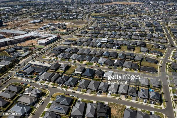 An aerial view of the sprawling new housing estates of Oran Park on October 23 2019 in Sydney Australia The local Government area of Camden is one of...