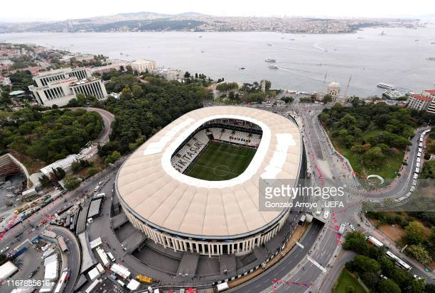 An aerial view of the stadium ahead of the UEFA Super Cup match between Liverpool and Chelsea at Vodafone Park on August 14 2019 in Istanbul Turkey