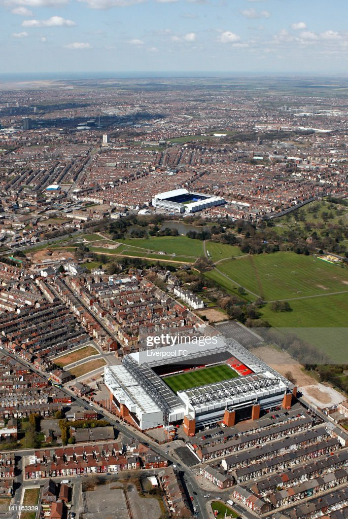 An aerial view of the Stadiums of Liverpool FC and Everton FC, Anfield and Goodison Park, seperated by Stanley Park and Anfield cemetery with the Bootle docks in the distance, on April 17, 2008 in Liverpool, England.