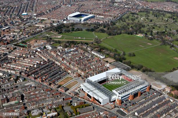 An aerial view of the Stadiums of Liverpool FC and Everton FC, Anfield and Goodison Park, seperated by Stanley Park and Anfield cemetery, on April...