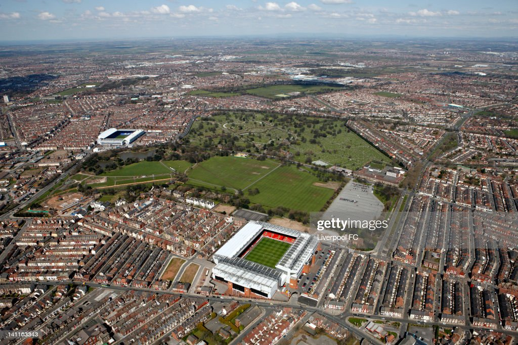 An aerial view of the Stadiums of Liverpool FC and Everton FC, Anfield and Goodison Park, seperated by Stanley Park and Anfield cemetery, on April 17, 2008 in Liverpool, England.