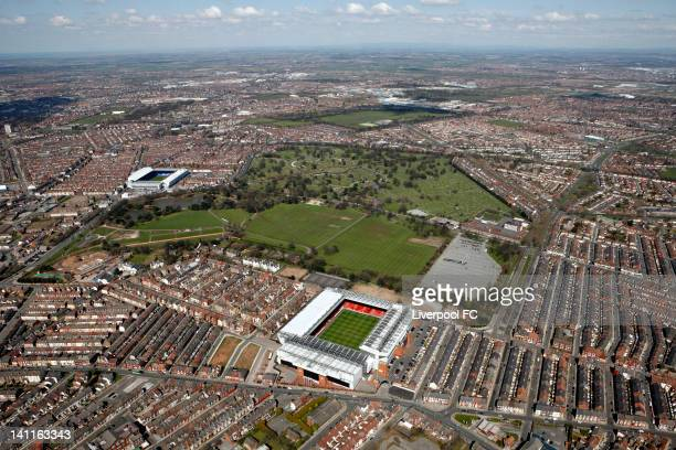 An aerial view of the Stadiums of Liverpool FC and Everton FC Anfield and Goodison Park seperated by Stanley Park and Anfield cemetery on April 17...