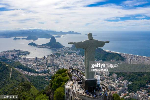 An aerial view of the statue of Christ the Redeemer during the opening ceremony of the festivities in honor of the 90th anniversary of the statue on...