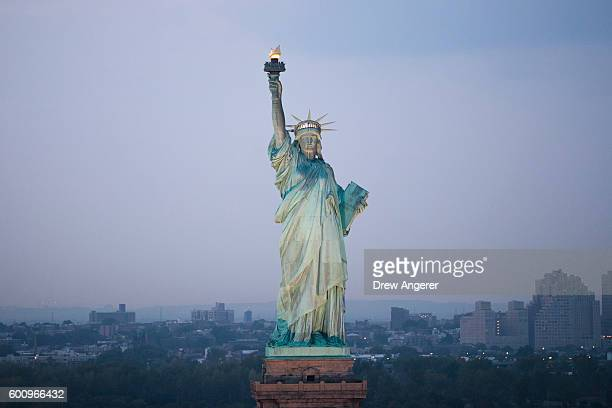 An aerial view of the Statue of Liberty September 8 2016 in New York City New York City is preparing to mark the 15th anniversary of the September 11...