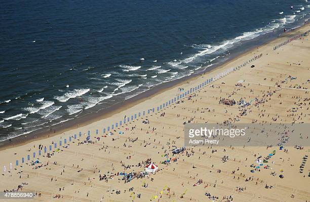 An aerial view of the succesful World Record attempt for Beach Volleyball games at Scheveningen Beach on June 27 2015 in The Hague Netherlands