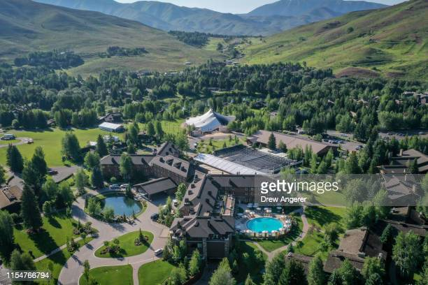 An aerial view of the Sun Valley Resort ahead of the annual Allen Company Sun Valley Conference July 9 2019 in Sun Valley Idaho Every July some of...