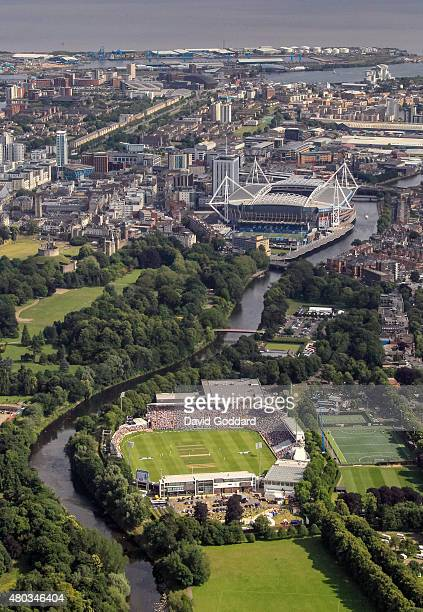 An aerial view of the SWALEC Stadium beside the River Taff with the Millennium Stadium in the background during day three of the 1st Investec Ashes...