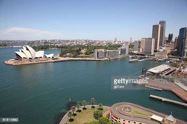 An aerial view of the Sydney Harbour Opera House
