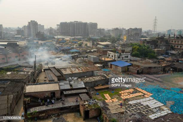 An aerial view of the tannery factory in Hazaribagh. Most people in this area have become victims of pollution due to the presence of toxic...