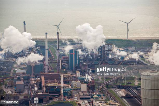 An aerial view of the Tata Steel plant on May 1, 2021 in IJmuiden, Netherlands. Dutch residents living in the vicinity of the Tata Steel plant have...