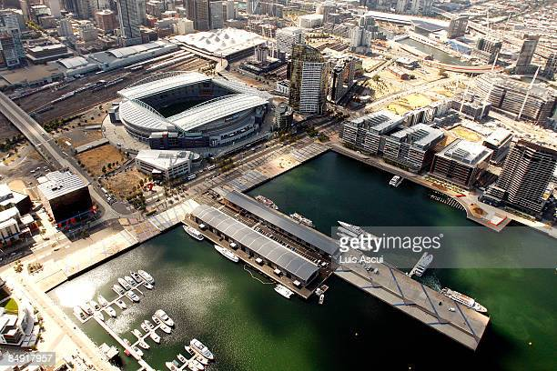 An aerial view of the Telstra Dome and the Docklands is seen on February 12, 2009 in Melbourne, Australia.
