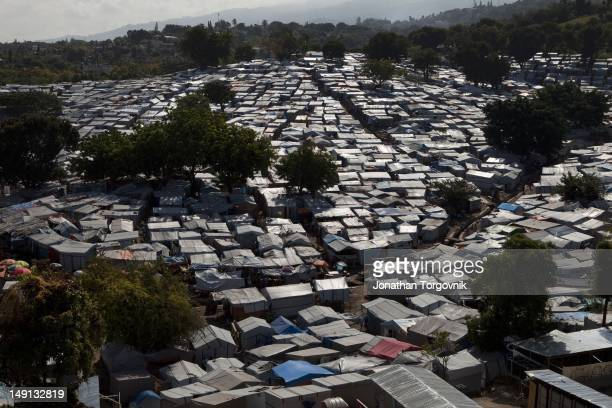 An aerial view of the tent camp where 55000 displaced Haitians are living on the grounds of what was the Club de Petionville January 2011 in Port au...