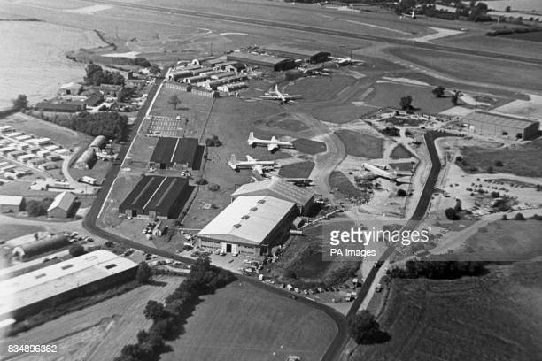 An aerial view of the terminal and aircraft of Stansted Airport which is to be developed as London's third international airport It was first...