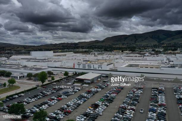 An aerial view of the Tesla Fremont Factory on May 12 2020 in Fremont California Alameda County has ordered Tesla's CEO Elon Musk to halt production...