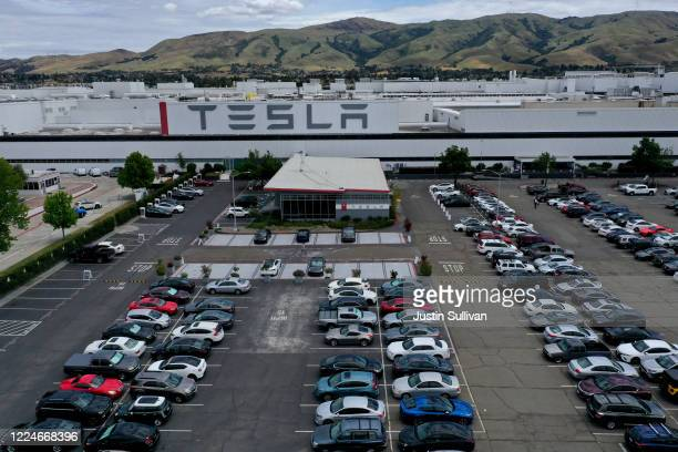 An aerial view of the Tesla Fremont Factory on May 13 2020 in Fremont California Days after Alameda County ordered Tesla's CEO Elon Musk to halt...