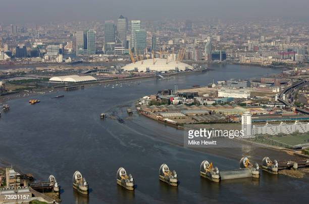 An aerial view of the Thames flood barrier to the east of the Millennium Dome and the city on April 20 2007 in London England