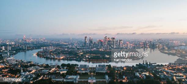an aerial view of the the london skyline at sunrise - stock photo - development stock pictures, royalty-free photos & images