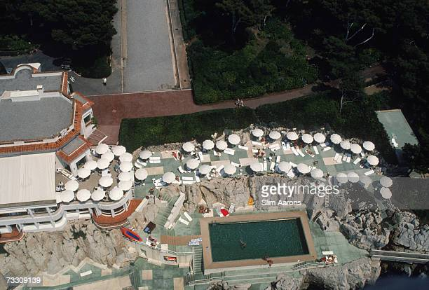 An aerial view of the the swimming pool at the Hotel du Cap EdenRoc Antibes France August 1976