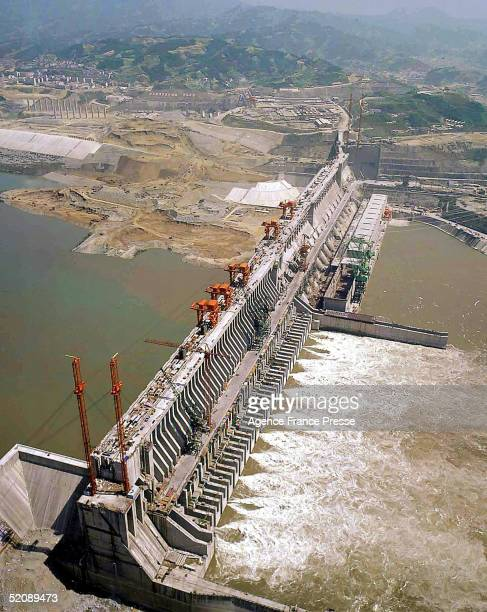 An aerial view of the Three Gorges Dam in Yichang Hubei Province China May 24 2003 Scheduled for completion in 2009 it will be the world's biggest...