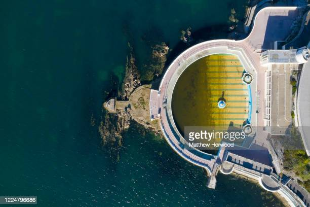 An aerial view of the Tinside Lido at Plymouth Harbour during the Coronavirus lockdown period on May 14 2020 in Plymouth United Kingdom The lido...