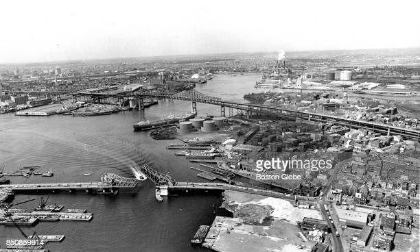 An aerial view of the Tobin Bridge spanning the Mystic River from Boston left to Chelsea is pictured on Apr 27 1972