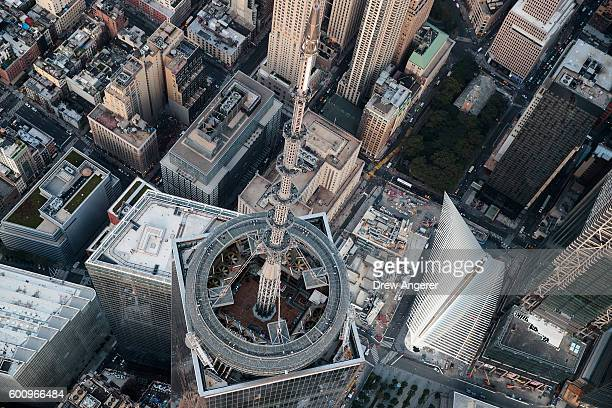 An aerial view of the top of One World Trade Center and its spire September 8 2016 in New York City New York City is preparing to mark the 15th...