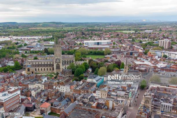 An aerial view of the town centre on May 11, 2021 in Gloucester, England. Police search for remains of the missing girl, Mary Bastholm, suspected to...