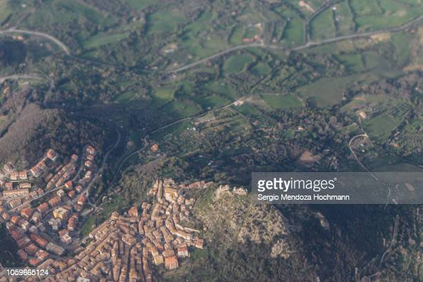 An aerial view of the town of Tolfa in the province of Lazio, Italy