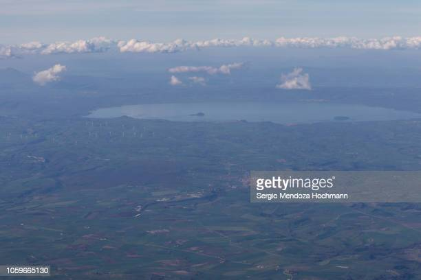 An aerial view of the town of Tuscania and Lake Bolsena - Province of Viterbo, Italy