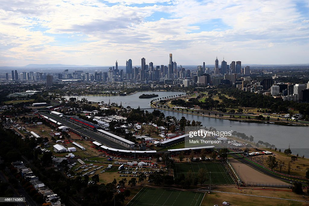 An aerial view of the track including Albert Park Lake during qualifying for the Australian Formula One Grand Prix at Albert Park on March 14, 2015 in Melbourne, Australia.